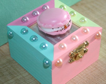 Colorful Macaroon and Pearl Trinket Jewelry Box