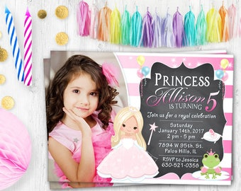 Fairy Tale birthday photo card birthday invitation Princess card Fairy Tale party invitation Pink Princess birthday