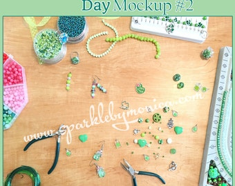 SBM-SPD2: St. Patrick's Day Green Shamrock Clover Desk Mockup for Jewelry Makers and Beaders