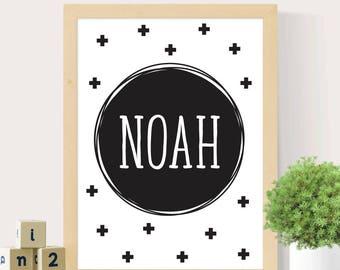 Personalised name print, Nursery wall art, Name print for nursery, Boy's nursery, Custom wall print, Digital print
