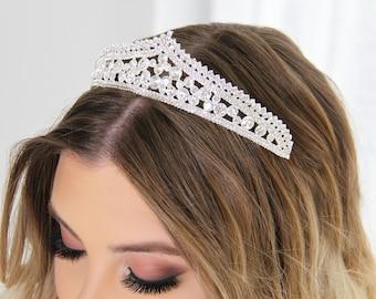 Victoria Head Piece- Silver Crystals Wedding Queen Tiara Crown Princess Head Band