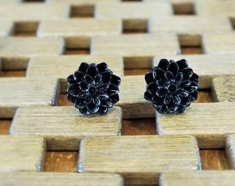 Black Dahlia Flower Stud Earrings