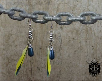 Earrings feather Budgie turquoise