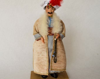 Handmade Doll With Turkish Traditional Clothes. Oriental Old Clothes