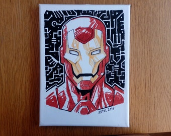Iron Man Comic made with felt-tip pen on canvas