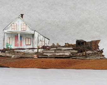 wood house, tiny house, miniature house, driftwood art, wood sculpture, reclaimed wood, rustic home decor, richidriftwoodart, old house, old