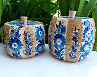 Set of handpainted wooden containers, Kitchen canisters with lid, Wooden sugar pot, Wooden Jars, Decorative pots, Kitchen box, Painted tins,