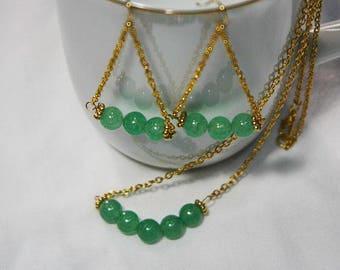 Green Aventurine on Gold, Jewelry Set