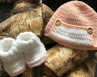 Pretty in Pink hat and booties