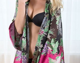 Asmara Silk Robe - Pink & Black