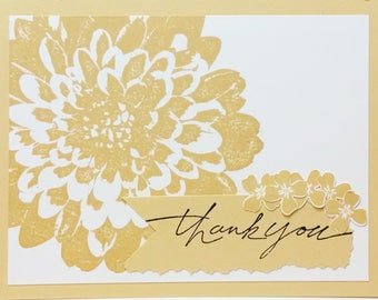 Stampin Up Thank You Card, Handmade Card, Stampin Up Card, Greeting Card, Yellow Flower