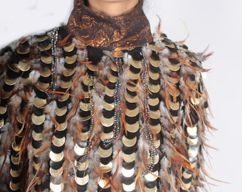 Feathered High Neck Top