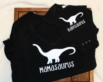 Mommy and Me shirts, mamasaurus, babysaurus, onsie