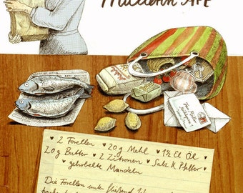 Trout Müllerin art - illustrated recipe postcard