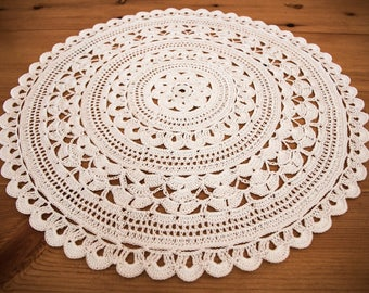 white large round  crochet cotton doily, handmade  crochet tablecloth, table decor, 45cm doily,  crocheted table runner, gift for home