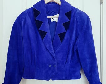 Rare Vintage 80s Chia Purple Leather Jacket and Skirt