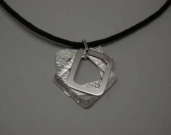 The triple square sterling silver necklace , modern silver necklace