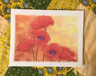 poppy Note cards, poppies note cards, poppy thank you cards, poppy greeting cards, poppy blank note cards, original note cards, flower cards