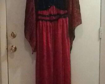 Red and Black Peasant Dress