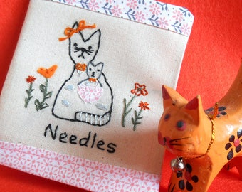 Needle Case, Hand Embroidered, Pins and Needles, Sewing Gift, Sewing Supply, Vintage Style, Cat Embroidery