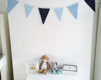 Blue, baby boy home made bunting. Sailor, stripes and baby blue.