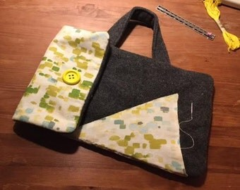 "11"" Macbook Laptop Felt Sleeve Case w/ Handle & 2 Pockets Velcro Grey Gray Watercolor Duck Canvas Blue Green Yellow Lime Chartreuse Handmade"