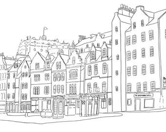 Edinburgh Grassmarket Print