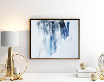 Original Abstract Painting on Paper 11x15 with white black and blue UNFRAMED monoprint artwork