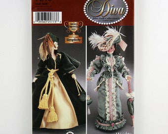 "Simplicity Pattern 7213 Diva Doll Clothes for 11-1/2"" Fashion Doll, Diva Doll Collection 1, Iconic Curtain Dress, Period Costuming"