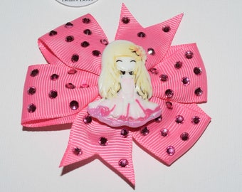 Girly Pink Hair Bow Clip