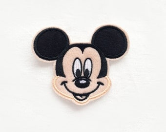 1x MICKEY Mouse patch custom Iron On Embroidered Applique cartoon black beige fun kid