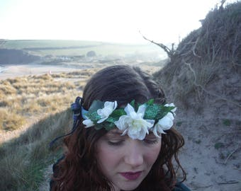 white flower tartan ribbon flower crown/flower hairband/hair garland/hair wreath/boho headpiece