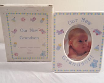 "Vintage ""Our New Grandson"" Ceramic Photo Frame By Russ"