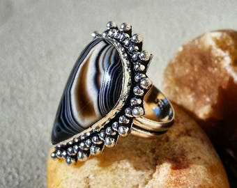 Obsidian 8 Sterling Silver Blue Natural Gemstone Rings