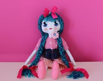 Blue-Handmade-handmade rag doll Rag Doll