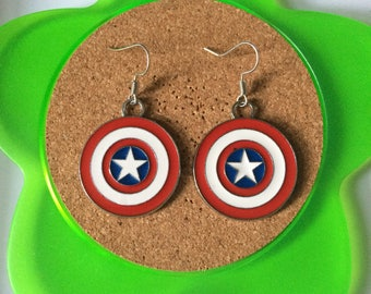 Handmade captain america sheild dangle earrings