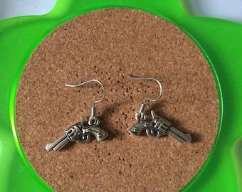 Handmade silver gun dangle earrings