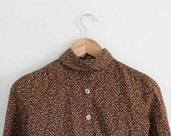 Handmade Brown floral button down (xs)