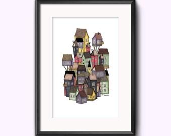Colourful City Houses Art Illustration Print