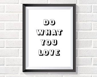 Poster quote Do what you love, illustration inspiration Scandinavian download