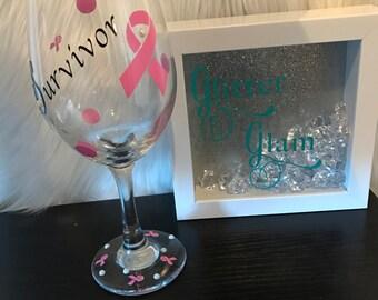 Survivor Breast Cancer Wine Glass