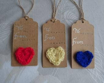 Crochet heart  gift tags