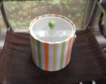 Vintage Ice Cream Orange Green Stripe Ice Bucket with Tong