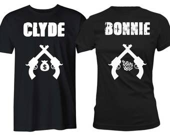 Bonnie and Clyde Couple Shirts His and Hers Couple T-Shirts