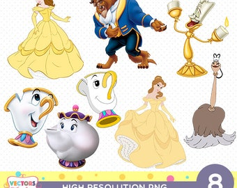 Beauty And The Beast CutOut Printable, Beauty And The Beast PNG Files, Beauty And The Beast Decoration Stickers Princess Belle Disney Party