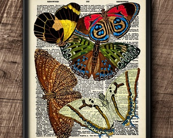 Butterflies · Instant Download · Dictionary · Colorful · Vintage · Wall · Printable · Digital File #102