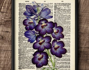 Delphinium · Instant Download · Flowers · Vintage · Wall · Printable · Digital File #110