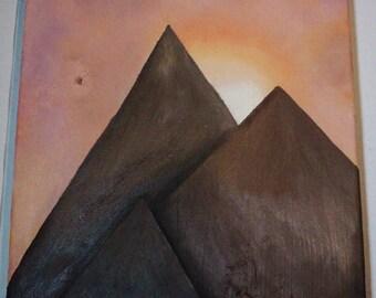 "Simplistic Mountain Sunset Oil Painting on 11.25"" x 12"" Wood Block"