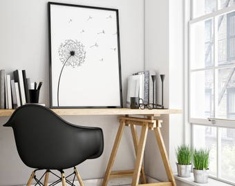 Dandelion Wall Art, Flower Art Print, Minimalist Poster, Black White Print,  Dandelion Part 43