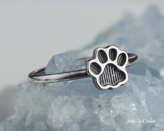 Sterling Silver Dog or Cat Pawprint Ring Paw Print Custom Solid .925